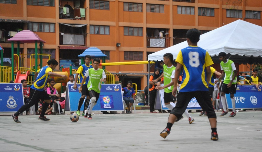 MF youngsters giving their best shot at the MF Final Tournament and Closing Ceremony held on 26 October 2013 at the futsal court at Flats Sri Selangor, Loke Yew Kuala Lumpur.