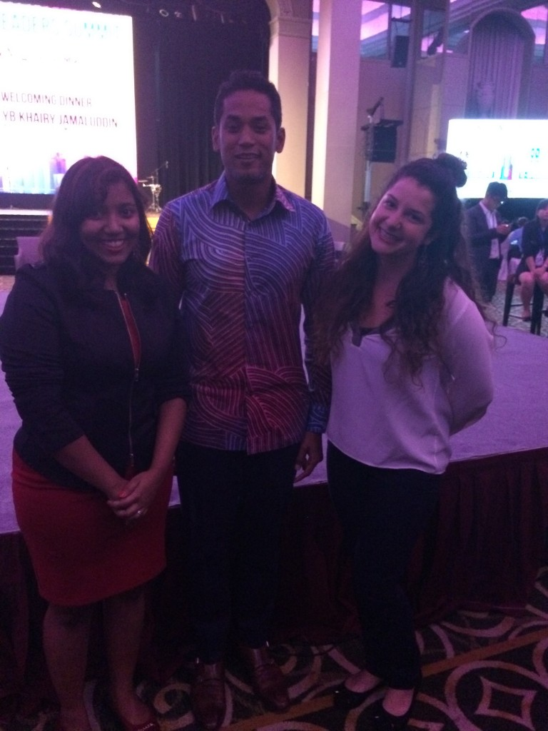 Archana, Capacity Building Officer at Global Peace Foundation - Malaysia and Nina Soutoul, Communication Team with YB Khairy Jamaluddin, Minister of Youth and Sports, Malaysia during the AYLS+ Young Leaders Summit.