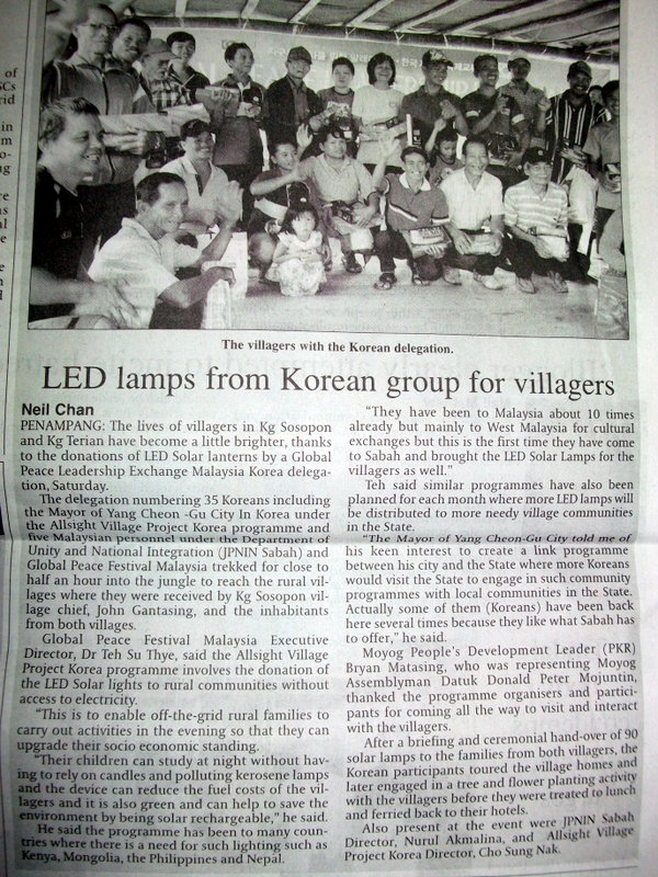 LED lamps from Korea group for villagers in sabah
