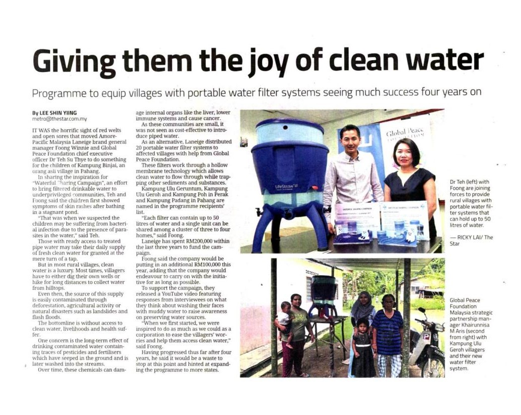 Giving them the joy of clean water - The Star