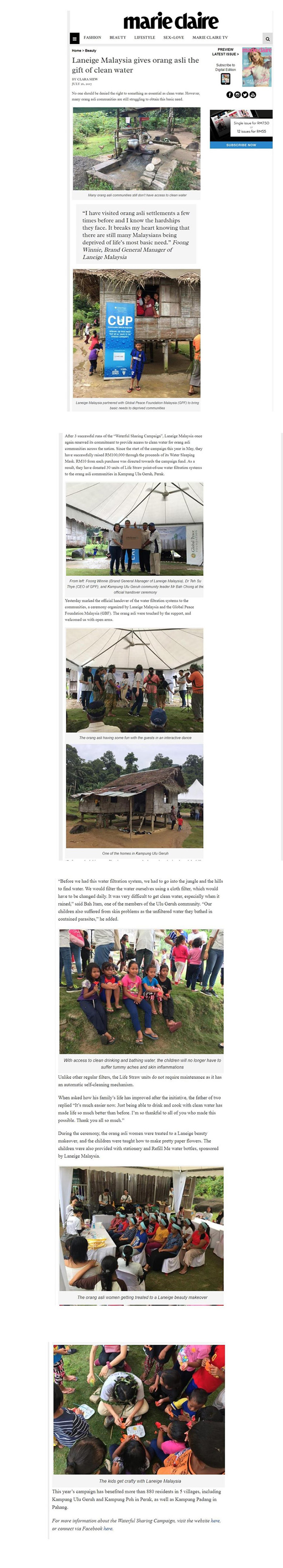 Laneige Malaysia gives orang asli the gift of clean water