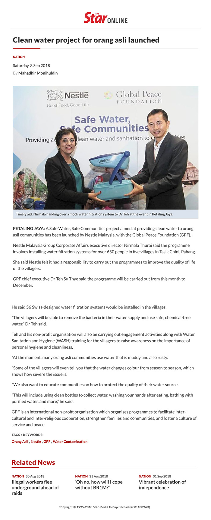 Clean water project for orang asli launched Read more at https://www.thestar.com.my/news/nation/2018/09/08/clean-water-project-for-orang-asli-launched/#aw2JiIGdpZrIyLSc.99