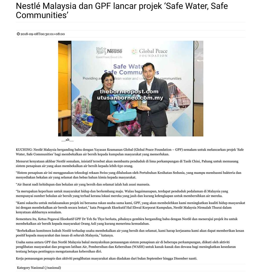 Nestlé Malaysia dan GPF lancar projek 'Safe Water, Safe Communities'