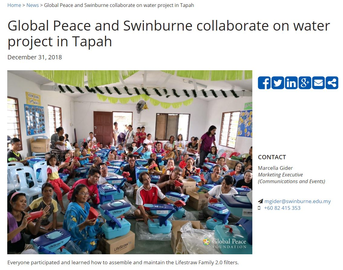 Global Peace and Swinburne collaborate on water project in Tapah