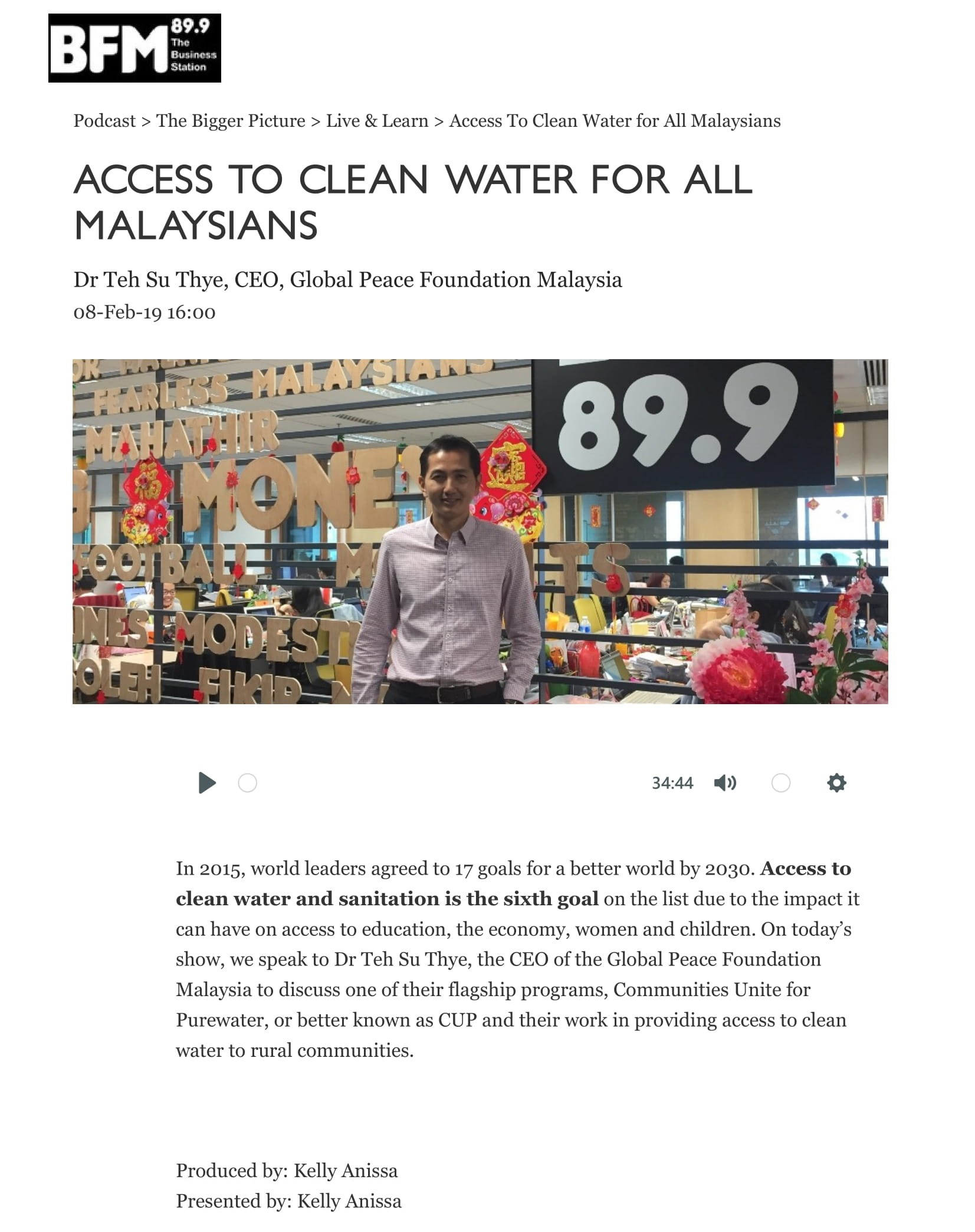 BFM_ The Business Radio Station - Access To Clean Water for All Malaysians